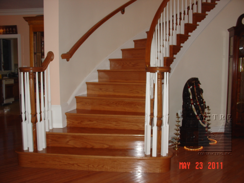 Curved Stairway with new oak treads and risers