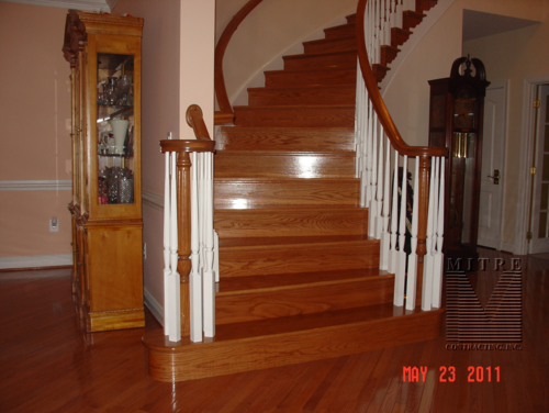 New curved stair oak treads and risers