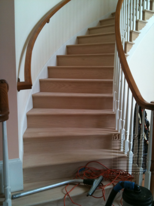Curved Stairway- Before Staining