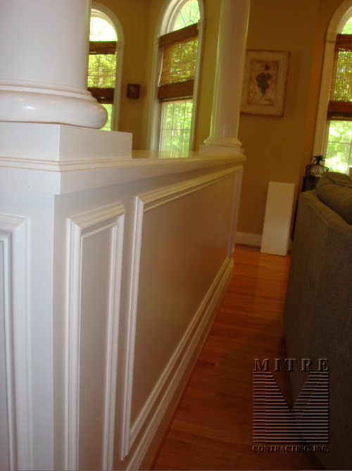Bookcase room divider - backside view of applied panel mould details