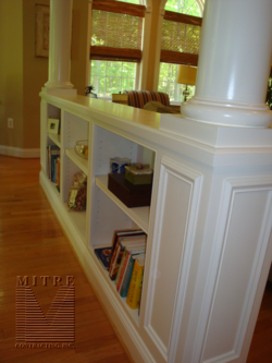 Half wall bookcases with columns