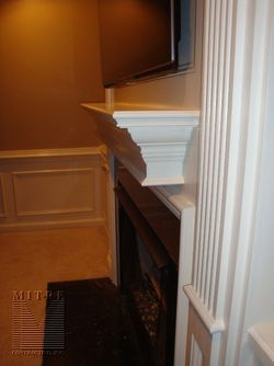 Side view of the pilaster and boxed mantel shelf