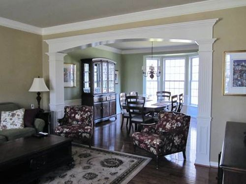 Custom millwork cased opening archway mitre contracting - Pictures of columns in living room ...