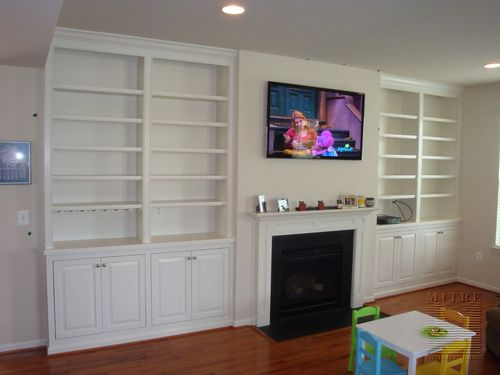 Built-In Cabinets with closed storage and open shelves, wine racks, glass holders