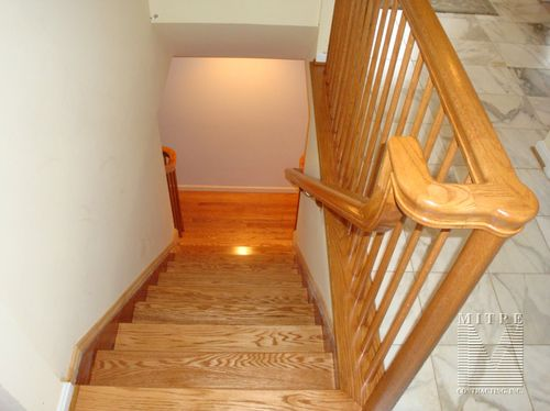 New oak stair treads, oak handrails, oak balusters