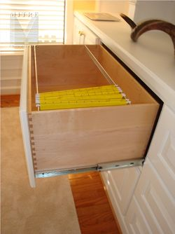 Built-In Cabinetry- File drawer with maple dovetailed construction and 200 lb slides