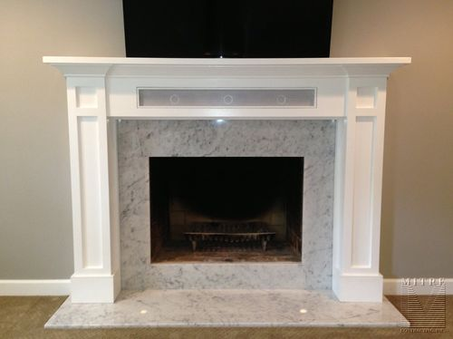 Craftsman Style Mantel with soundbar storage