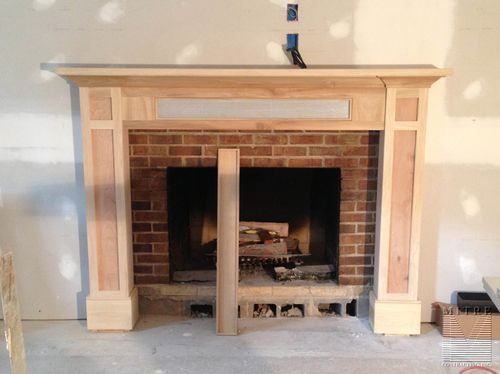 Craftsman Style Mantel with storage - solid and screen removable panels