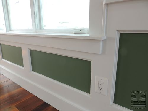Close up of the flat wall paneled wainscoting