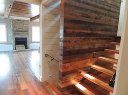 Stairway reclaimed barn wood,  treads & wall treatments
