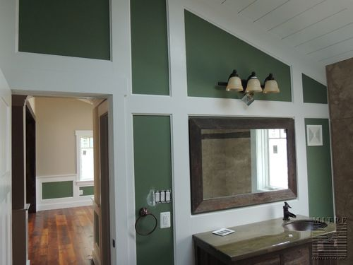Master Bathroom - recessed panel wainscot walls & 1x8 board ceiling treatment