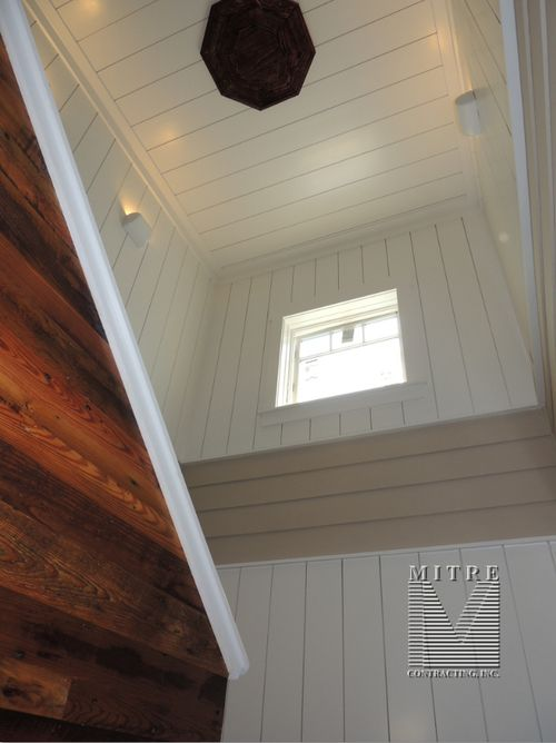 Upper Stairway Wall & Ceiling Treatments