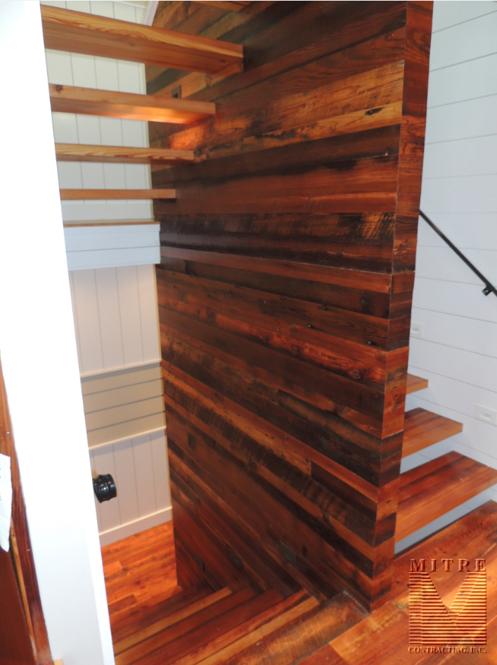 Stairway-reclaimed barnwood-floating treads-wall treatment