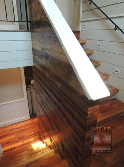 Stairway reclaimed barn wood treads & wall treatment