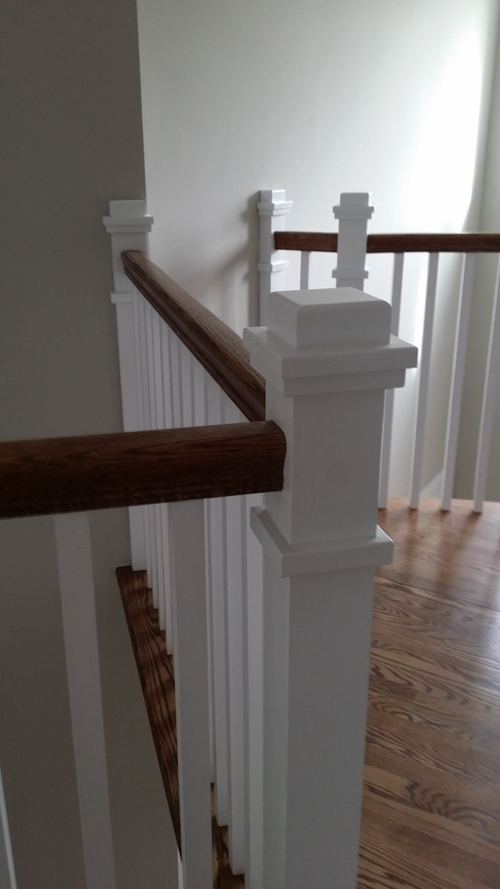 Stair railing with painted boxed newels