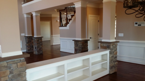 Halfwall Bookcases & columns with a 3 piece crown moulding