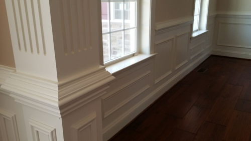 Finish Carpentry close up picture of chair railing & wainscoting
