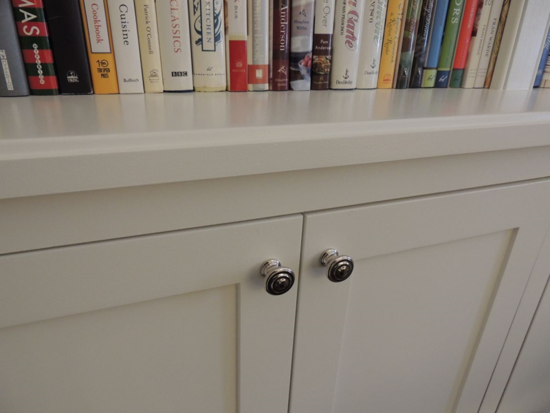 Solid maple flat recessed panel doors for built-in cabinets - inset style