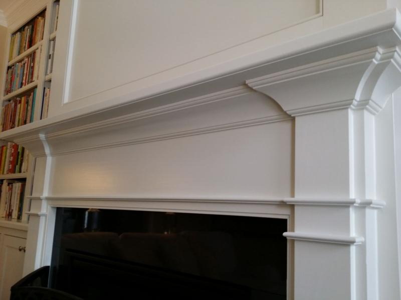 Fireplace mantel close up view