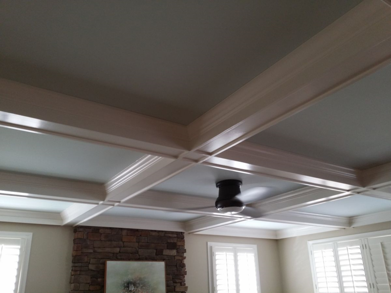 Beamed coffered ceiling treatment for family room