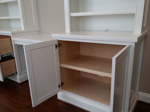 Built-in cabinet with doors and file drawers