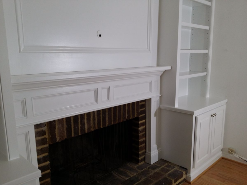 Fireplace mantel or mantle with recessed panels