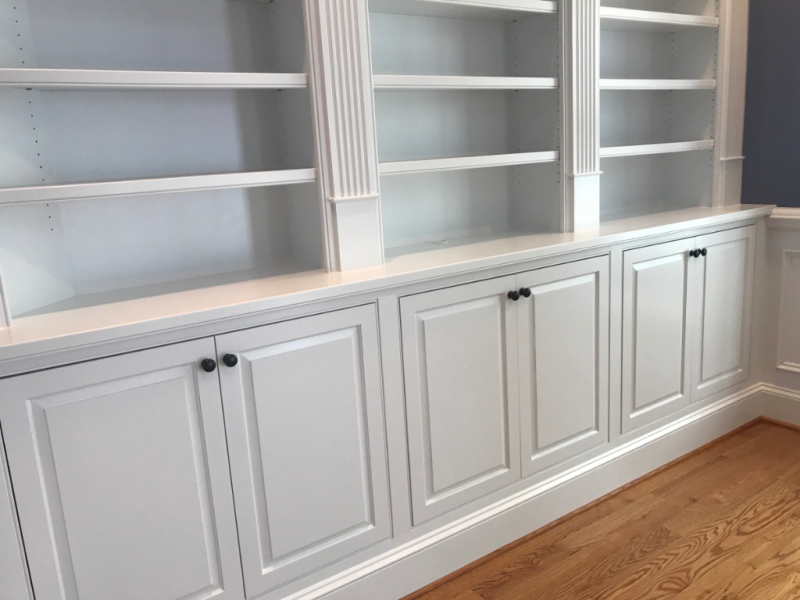 Built-in cabinetry inset doors on beaded frames