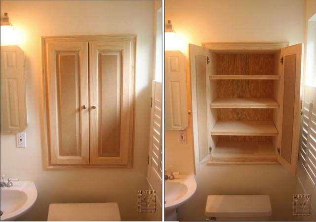 built ins niche cabinet in bathroom
