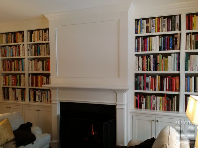 Built-In cabinetry with fireplace mantel