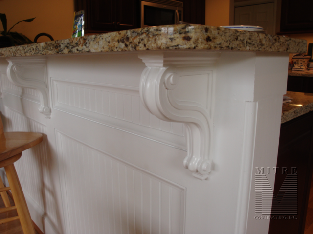 Corbels & Paneled Beadboard Wainscoting treatment
