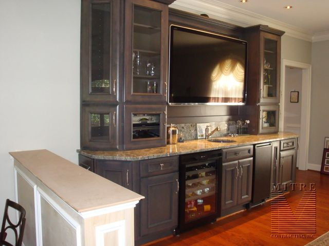 Haas Brand Cabinetry Granite Counters Are Featured In This Hybrid Wet Bar Entertainment Center