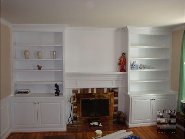 Mantel between Built-In Cabinetry