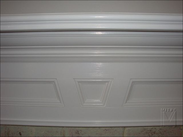 Closeup view of mantel breastplate