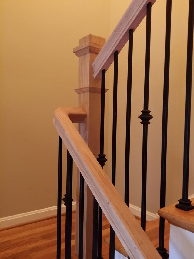 Boxed Newel Posts and Wrought Iron Balusters