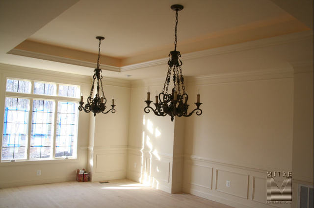 Dining Room with 3pc. Crown, 2pc. Chair, Shadowbox Panels, Tray Ceiling with rope lighting