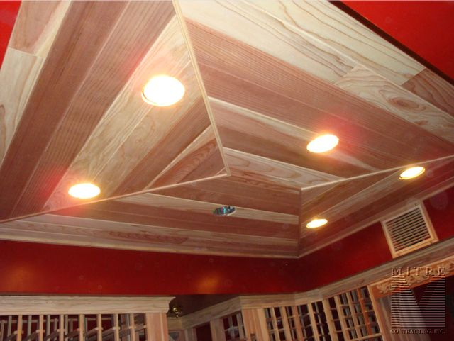 Tongue & Groove Redwood Wine Cellar Ceiling