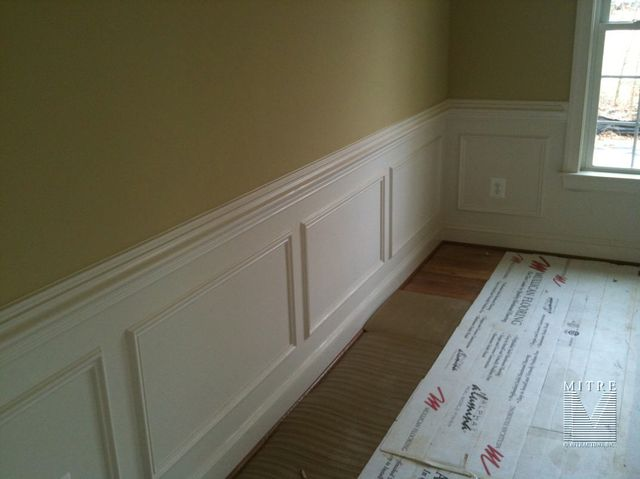 Wainscoting chair rail shadow box wainscoting for Dining room molding panels